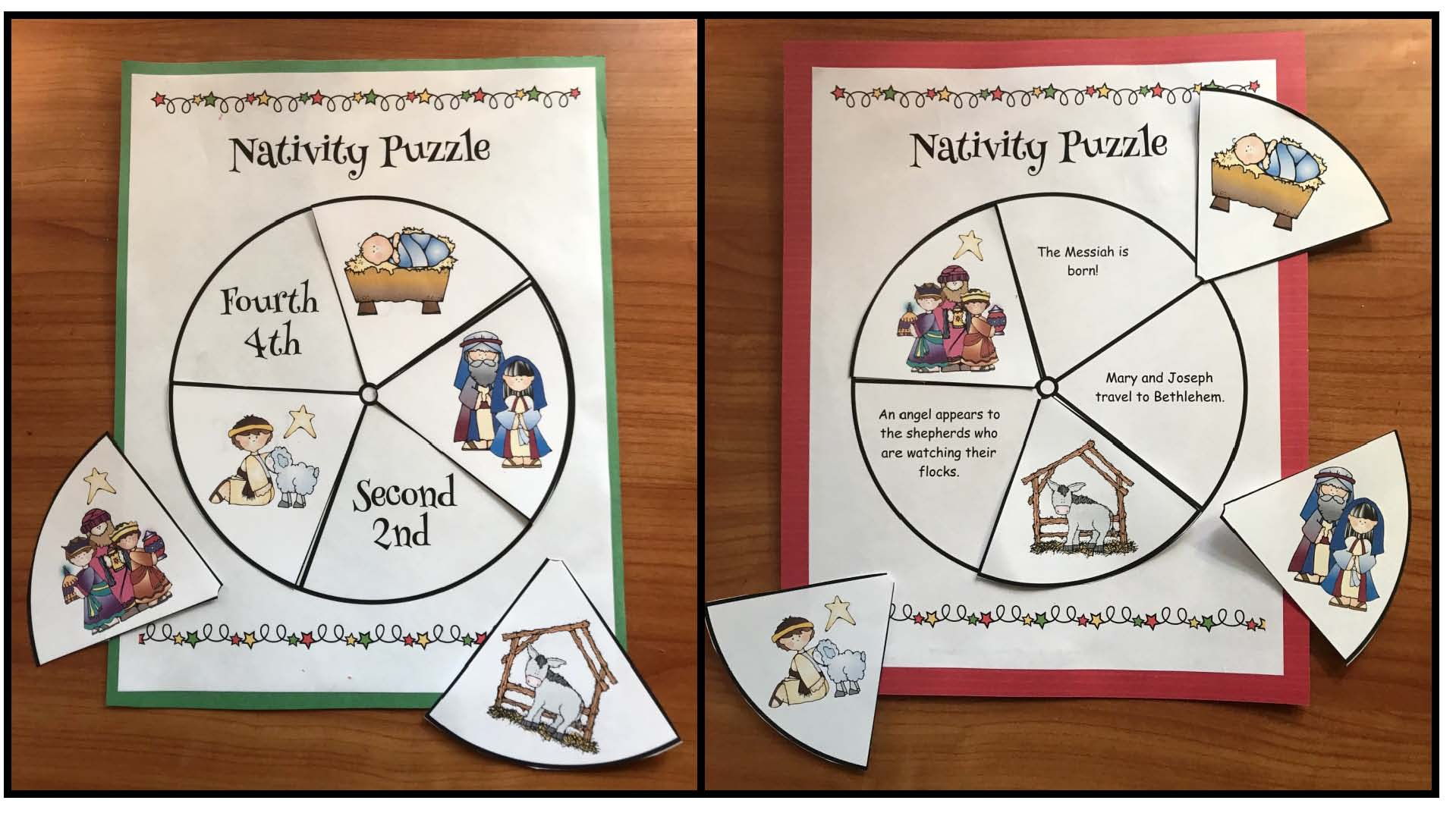 nativity puzzle, nativity crafts, crhristmas crafts, retelling a story activiteis, sequencing a story activities, birth of Jesus activities, storytelling wheels