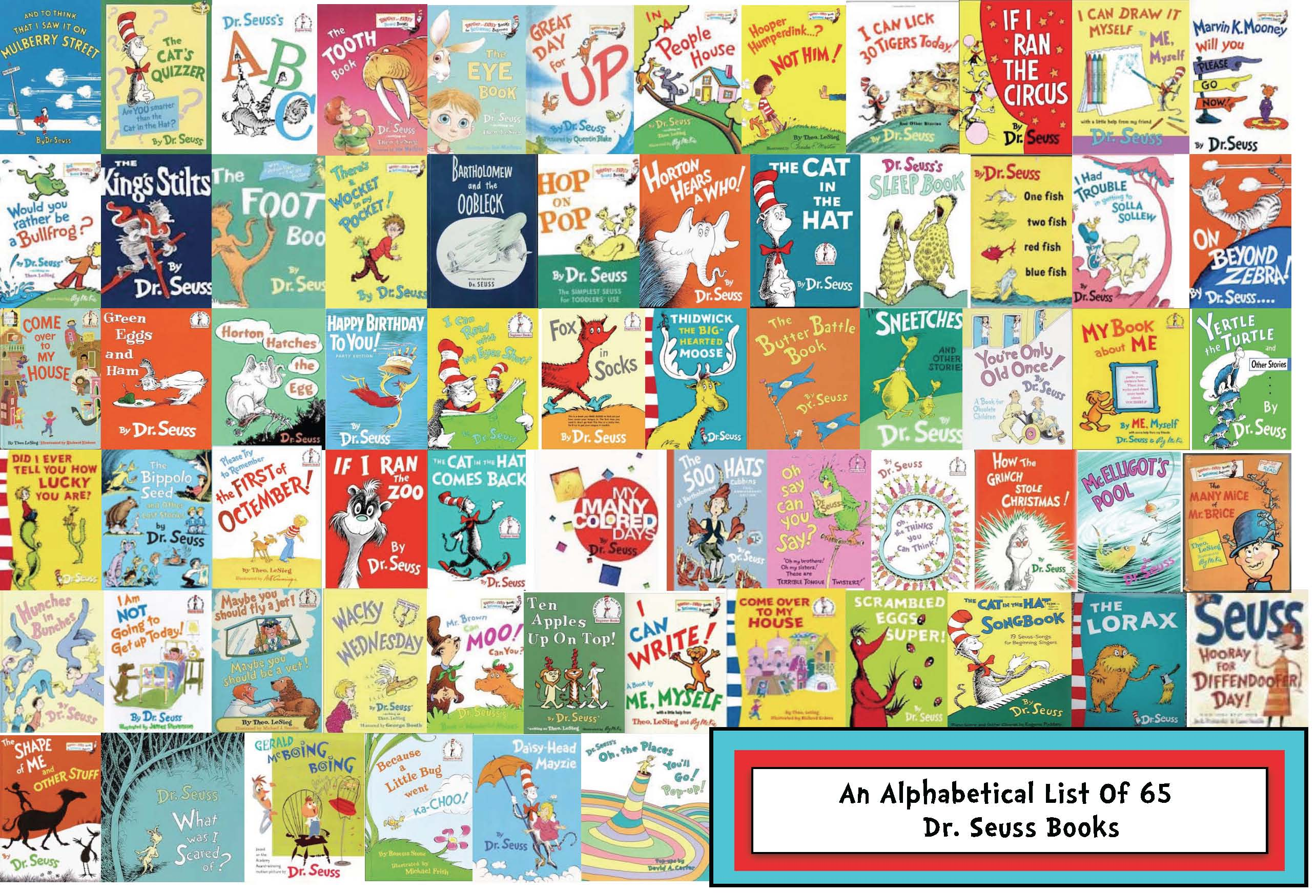 a list of Dr Seuss books, bibliography of books by Seuss, synopsis of seuss books, a synopsis of 79 Seuss stories, an alphabetical list of 65 books by seuss, Seuss book what pet should i get, how many books did seuss write