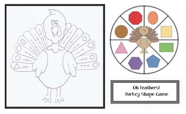 turkey activiteis, turkey centers, turkey games, 2D shape activities, 2D shape Games, 2D shape centers