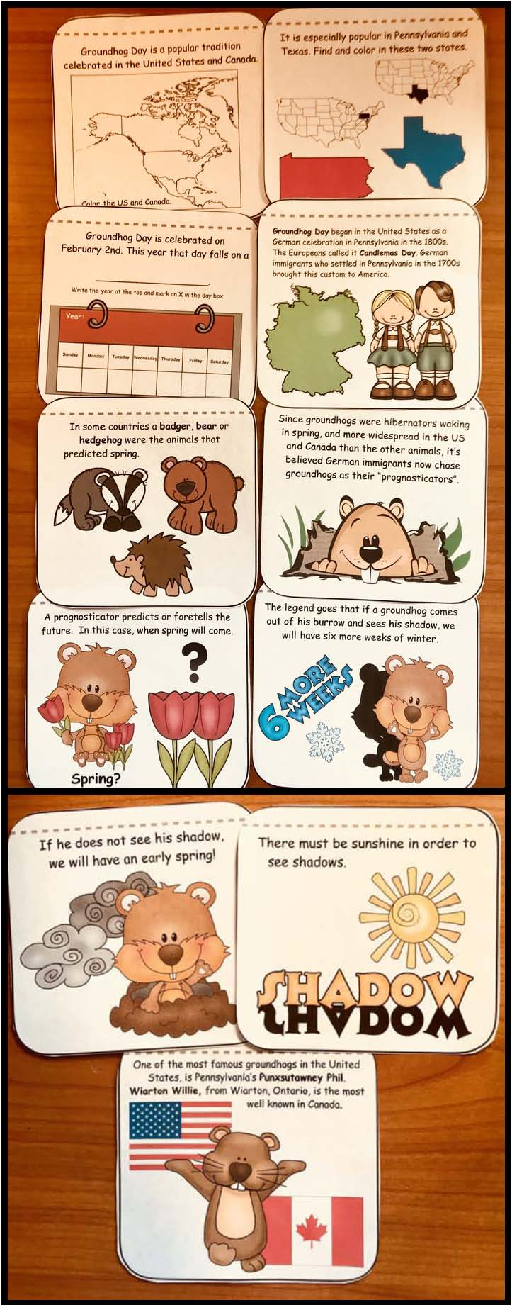 groundhog fun facts, groundhog crafts, pictures of real groundhogs, groundhog day crafts, groundhog day card, groundhog centers, groundhog bulletin boards, writing prompts for February, non-fiction groundhogs, February bulletin board ideas