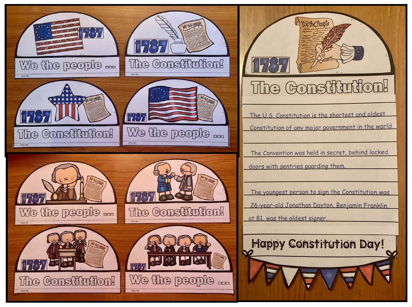 The U.S. Constitution, constitution activities, constitution facts, constitution writing prompts, constitution crafts, constitution day activities, constitution day bulletin boards