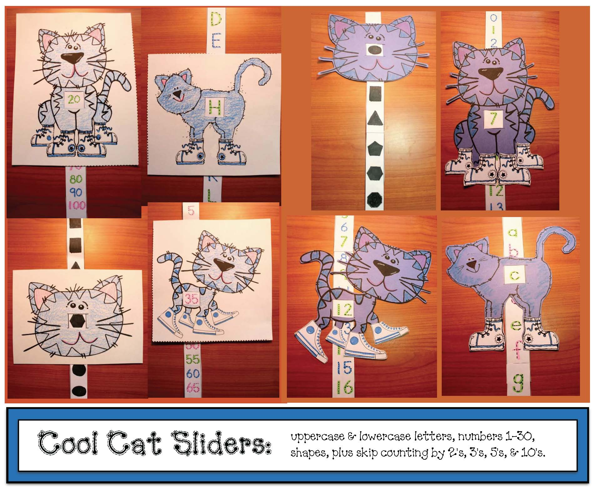 pete the cat activities, alphabet activities, number recognition, cat crafts, skip counting activities, shape activities, alphabet games, number games, shape games, alphabet assessments, alhabet games, I spy games, sliders