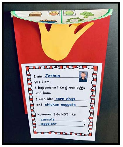 green eggs and ham writing prompt worksheet, green eggs and ham graph, dr. seuss activities, dr. seuss crafts, green eggs and ham activities, green eggs and ham crafts, march writing prompts, read across america bulletin boards, seuss bulletin boards, seuss writing prompts