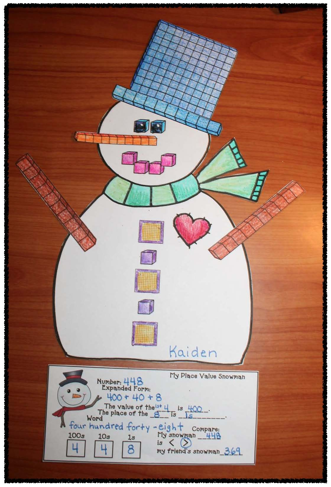 place value activities, place value crafts, place value games, snowman activities, snowman crafts, January bulletin boards, snowman glyph, glyphs, 3D cylider shape activities, 3D shape crafts, 3D shape activities,