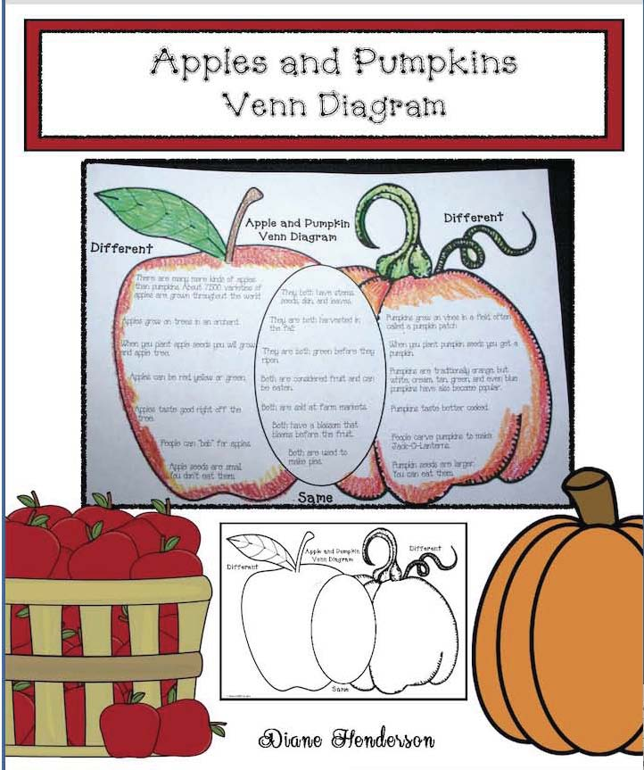 Venn diagrams, apple pumpkin venn diagram, comparing apples with pumpkins, apple glyph, scarecrow glyph, pumpkin glyph, pumpkin activities, assessing listening and following directions, back to school activities, apple activities, scarecrow activities, scarecrow crafts, apple craftss, getting to know you ice brekers