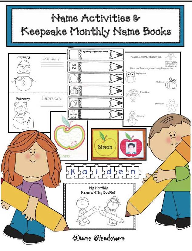 name writing activities, name games, keepsake booklets, name writing practice, learning to write your name