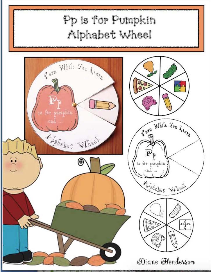 alphabet wheels, words that begin with P, P nouns, alphabet crafts, letter crafts, alphabet emergent readers, letter p worksheets,