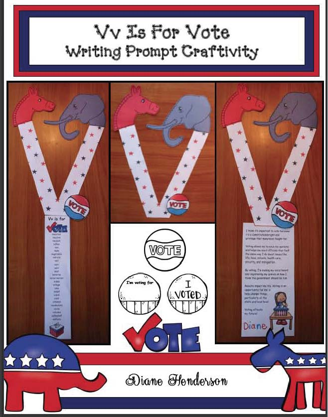 election activities for early elementary, election activities, election bulletin boards, election crafts, election writing prompts for kids