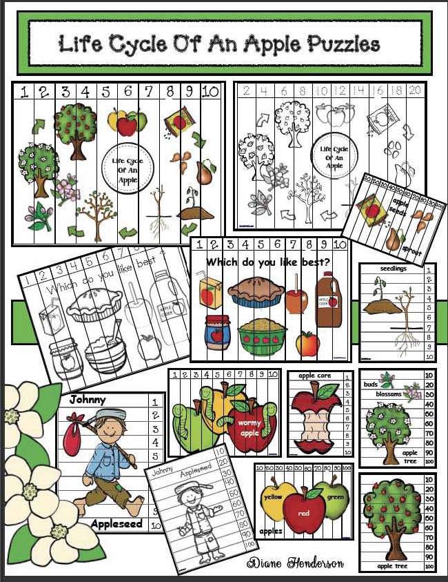 life cycle of an apple activities, life cycle of an apple crafts, apple crafts, apple activities, apple games, apple songs, apple writing prompts