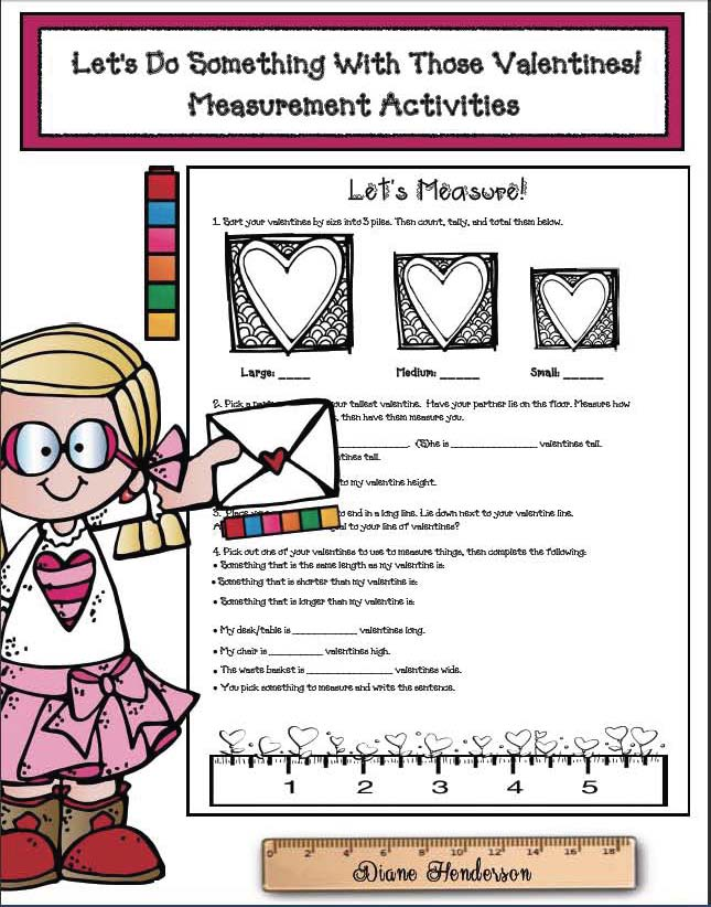 valentine activities, valentine party day ideas, valentine emergent reader, valentine worksheets, print and go activities for valentines day,measurement activities, math centers for valentines day,  ideas for valentines