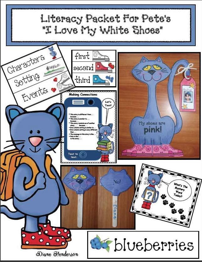 pete the cat activities, pete the cat crafts, pete the cat games, vocabulary building activities, dolch word activities, I love my white shoes activities, rockin' in my school shoes activities, back to school activities