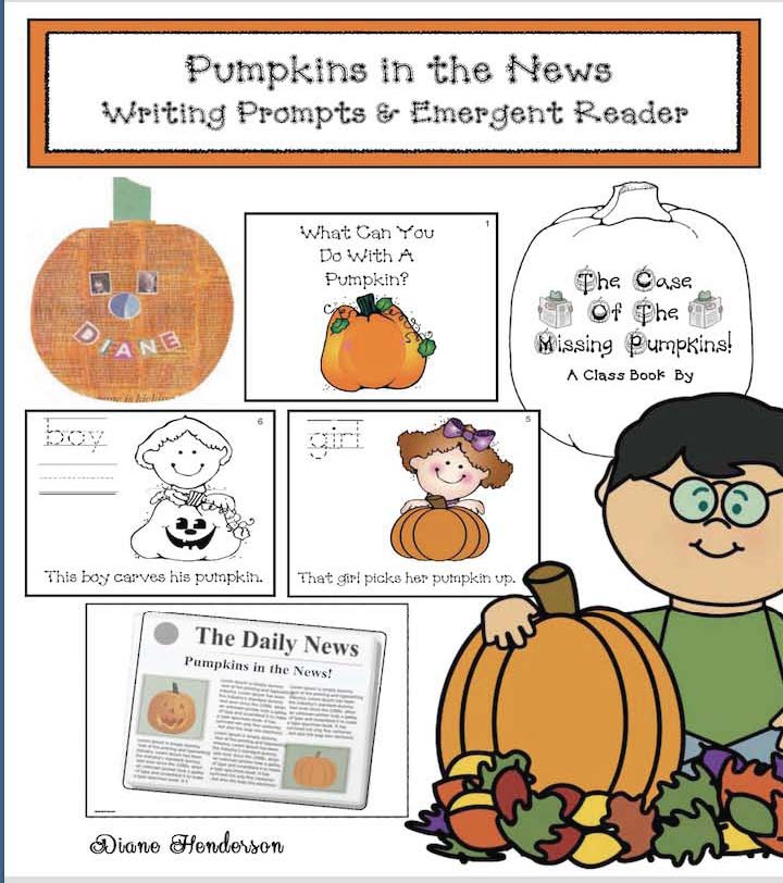 pumpkins in the news, pumpkin activities, pumpkin crafts, pumpkin writing prompts, pumpkin emergent readers, emergent readers, what can you do with a pumpkin, pumpkin contests, catapulting pumpkins, largest pumpkin, pumpkin regattas, class made books