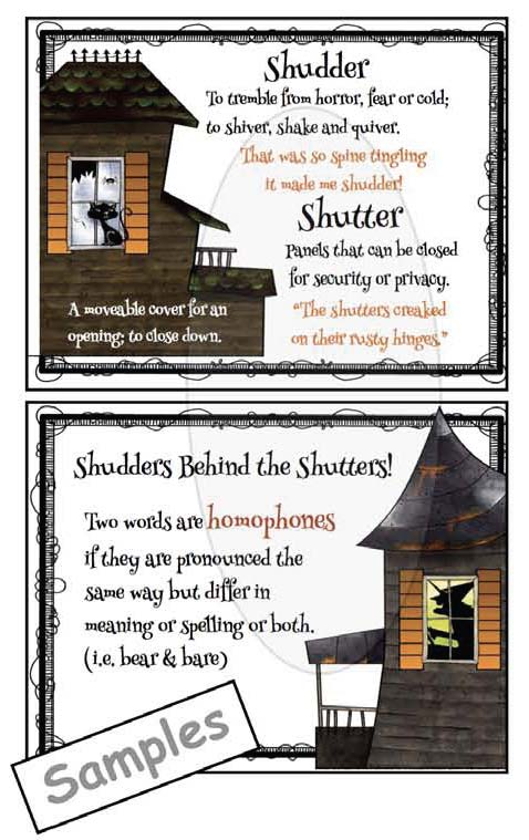 shudder shutter definition posters homophones, halloween activities, halloween bulletin board ideas, scary writing activities, halloween writing prompts, spooky writing, halloween crafts, homophone activities, onomatopoeia activities, metaphor activities, writing centers for October, similie activities,