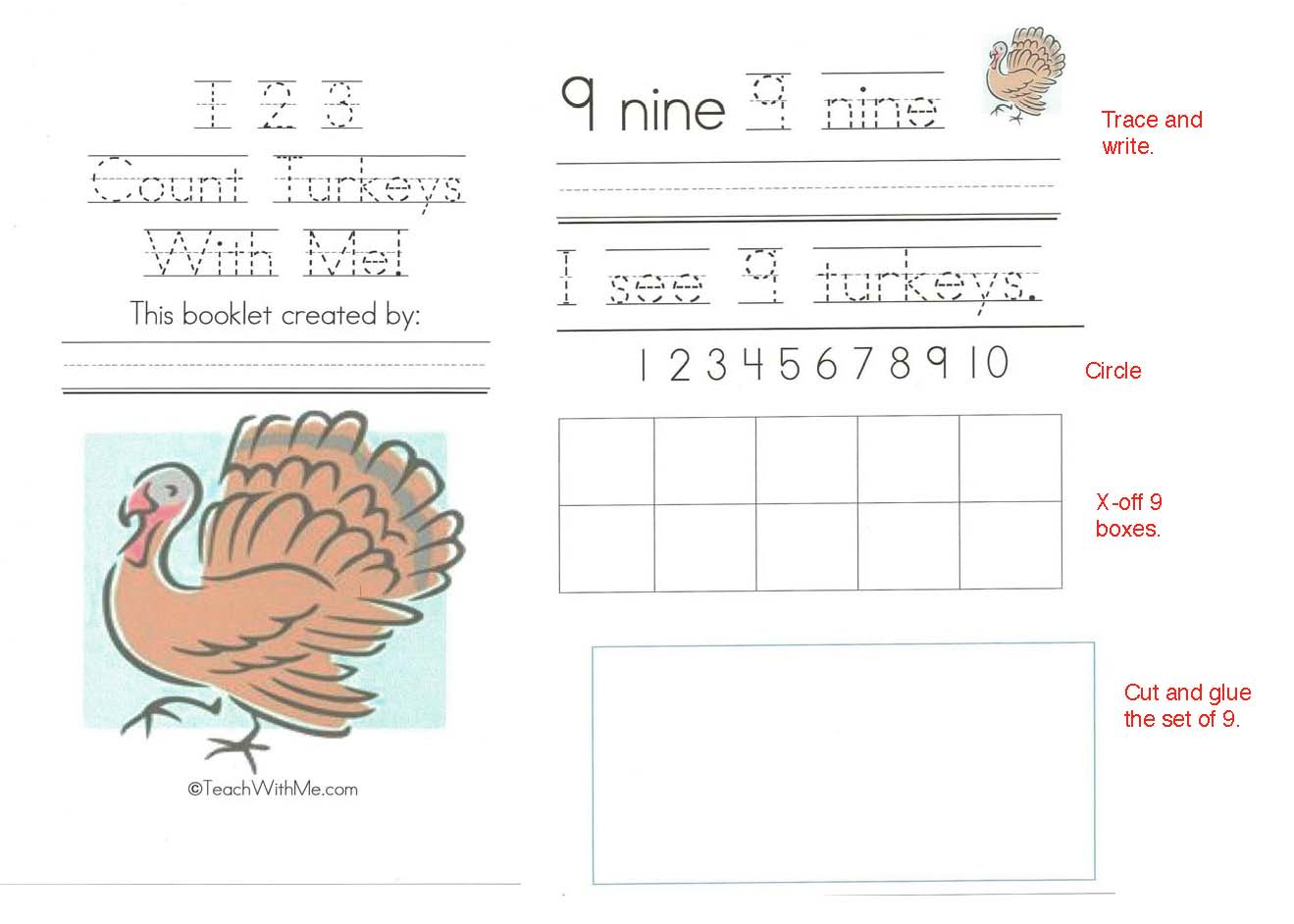 Thanksgiving snip and flip counting booklet, emergent readers, free emergent readers, thanksgiving activities, thanksgiving easy readers, end punctuaton activities, 10 frame activities, 10 frame booklets, counting booklets, number words,