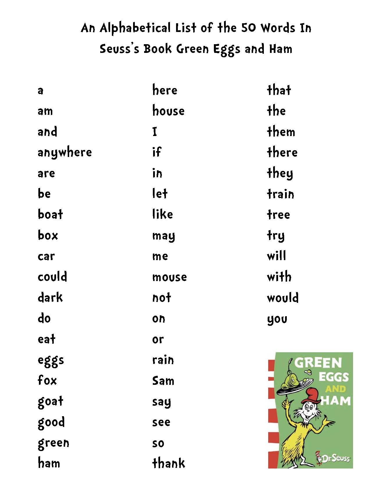 green eggs and ham activities, Daily 5 word work, daily 5 word work for Seuss, Seuss activities, a list of the 50 words in green eggs and ham, a list of words that rhyme with Sam, a list of words that rhyme with green, Dolch word lists, Dolch word activities, Dolch word games, word games, Kaboom game, vowel activities, long and short vowel sorting activities