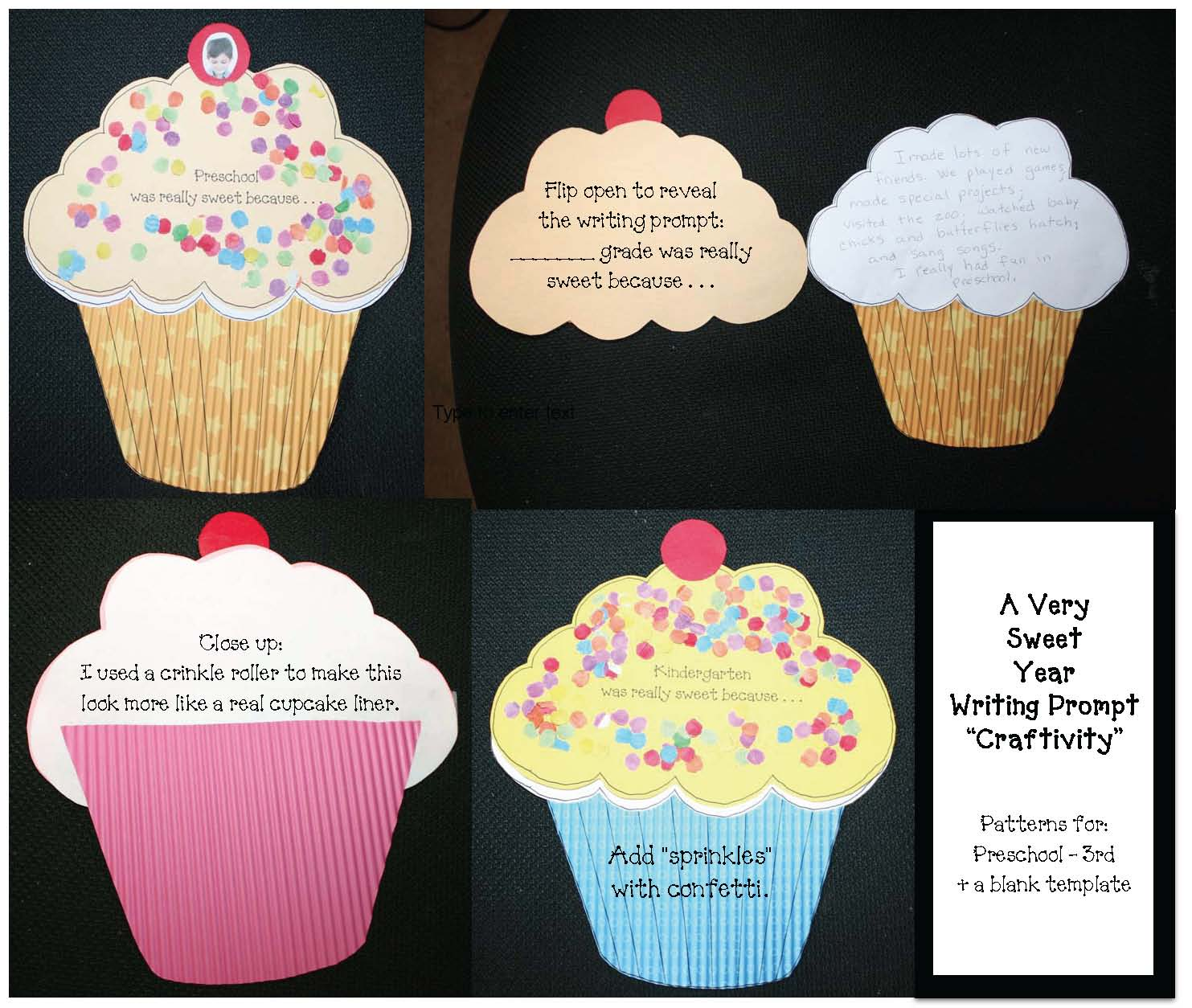cupcake crafts, end of the year activities, end of the year writing prompts, writing prompts for june, end of the year bookmarks, current students writing notes to next year's students