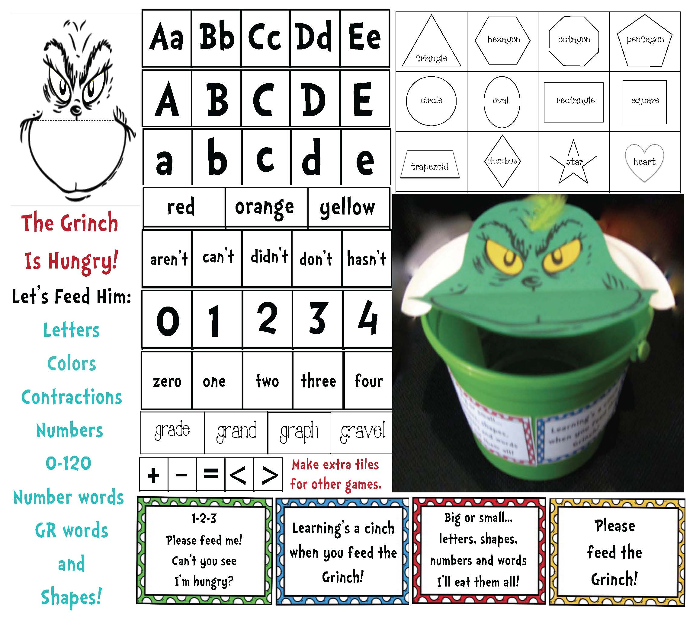 Grinch activities, grinch crafts, rhyming activities, Seuss crafts, common core Seuss, Seuss writing prompts, grinch games, how the grinch stole christmas, GR word blends, word blend activities, contractions, contraction cards, list of contractions, contraction games, Daily 5 word work for March, Daily 5 word work for Seuss, Seuss common core, common core seuss, alphabet games, alphabet cards, alphabet activities, number cards 0-120, shape activities, shape cards, 2d shapes, 3D shapes, shape cards, shape games, number words, color words,