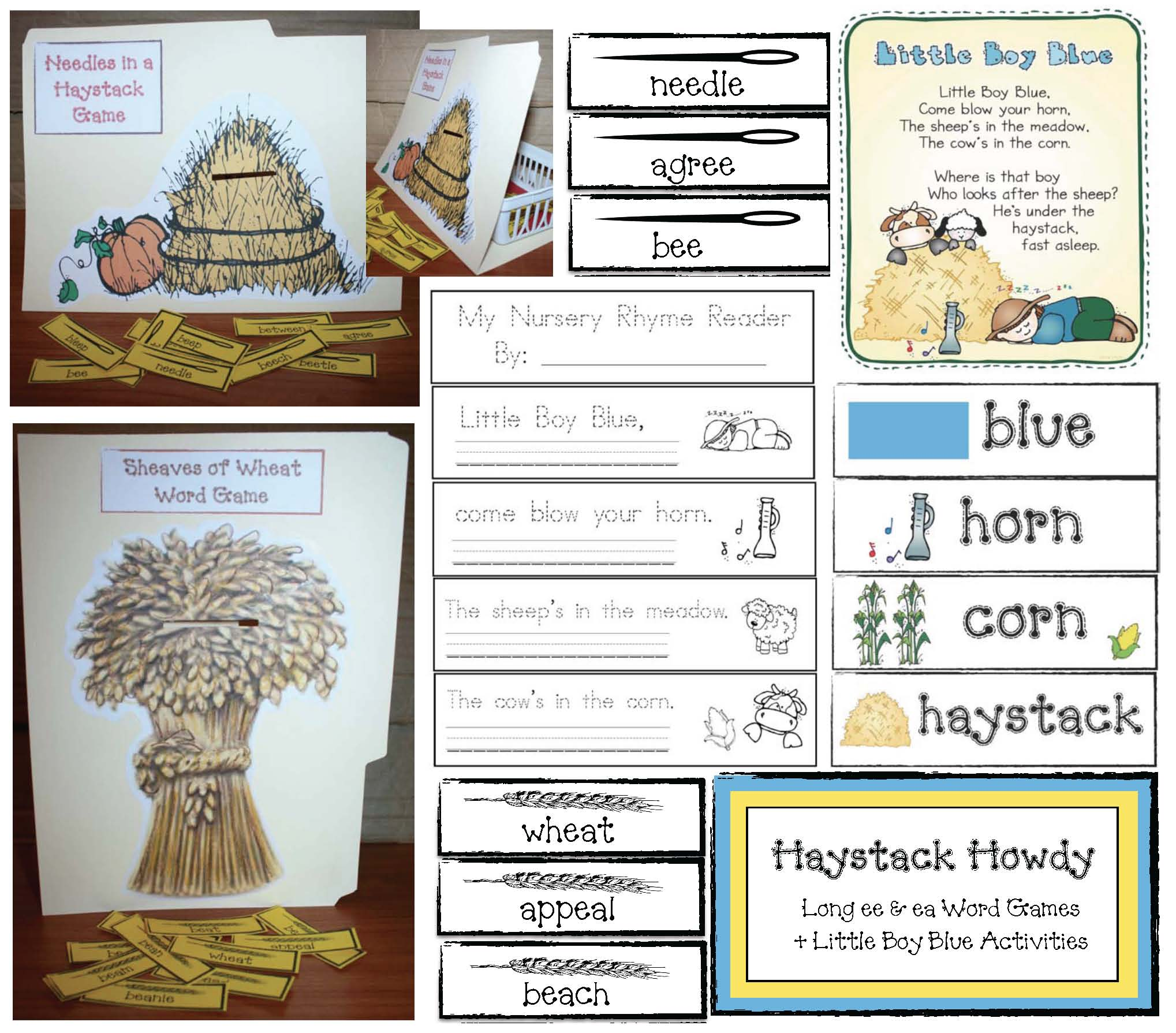 needle in a haystack activities, daily 5 word work activities, daiy 5 for Novmeber, when two vowels go walking activities, long e vowel activities, ea word activities, list of ee words, list of ea words, sheaf of wheat activities, wheat activities, word games, vowel games, nursery rhyme activities, little boy blue activities,