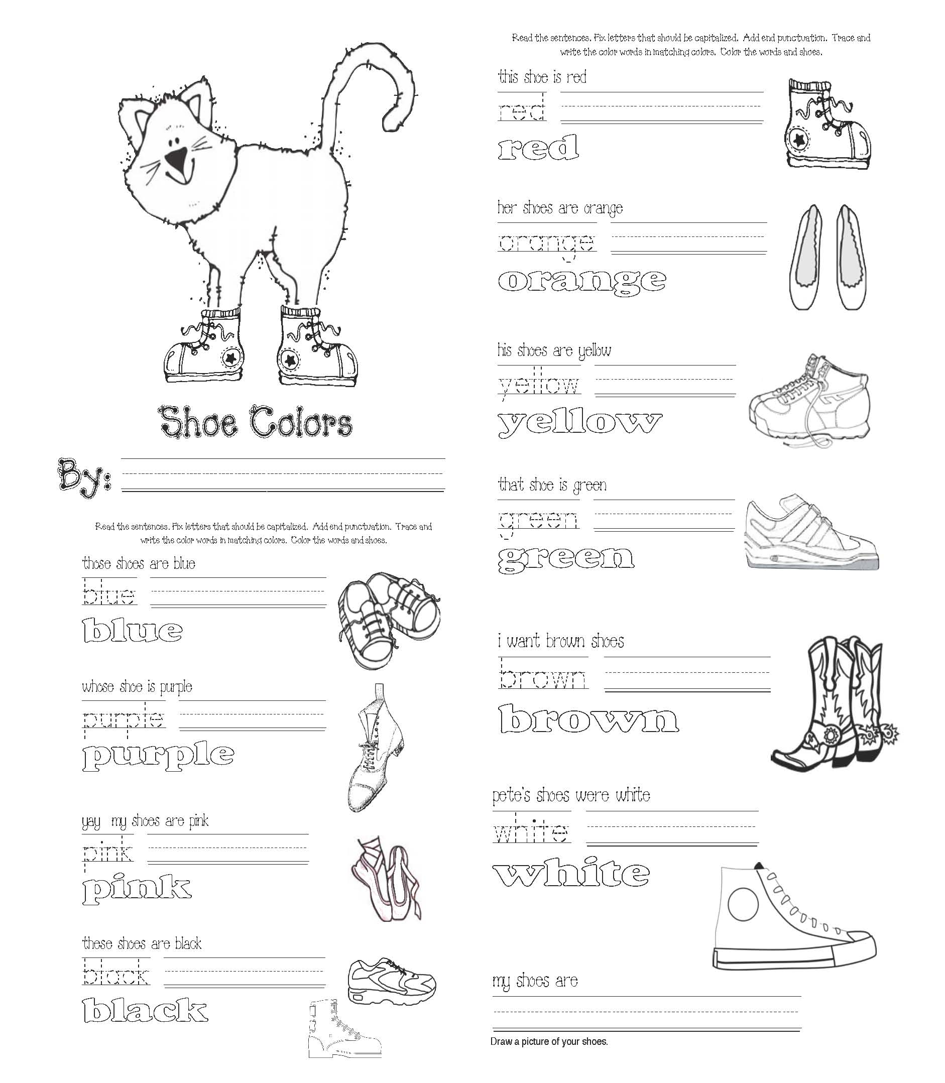 Pete the cat activities, pete the cat I love my white shoes activities, pete the cat crafts, pete the cat games, pete the cat worksheets, pete the cat lessons, color activities, color games, color words, color word cards