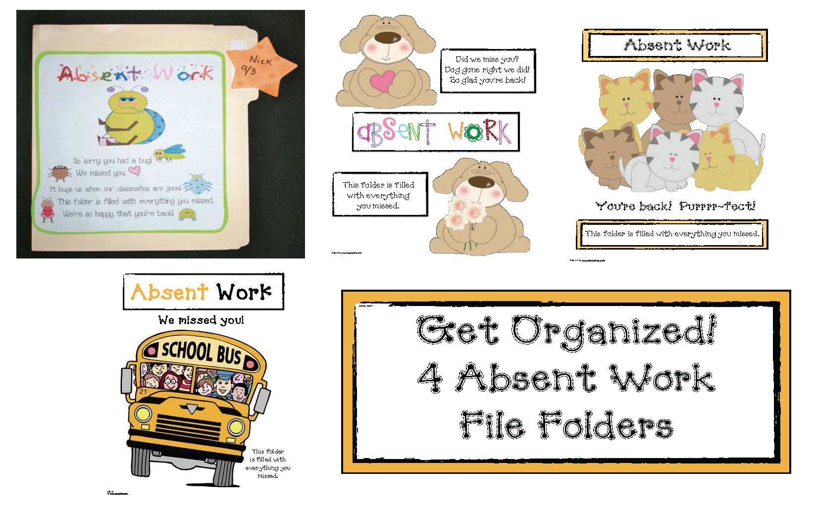 classroom management tips, classroom management ideas, absent work, homework tips, make up work tips, managing make up work, get well cards for kids, color me get well cards, get well cards to give to students, managing missed work, absent folders
