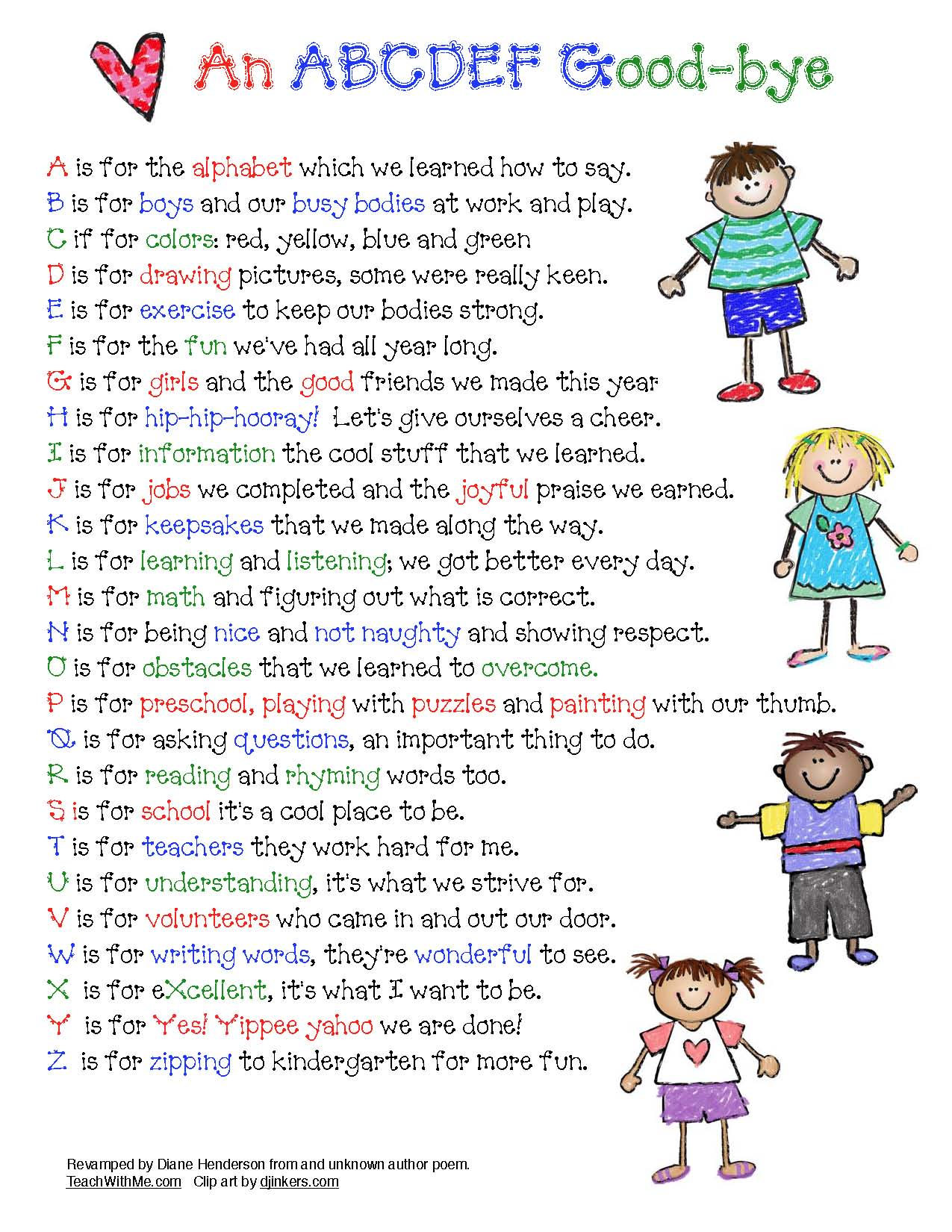 alphabet poem, alphabet activities, end of the year activities, good bye poem, end of the year poems, good bye alphabet poem, last day of school activities