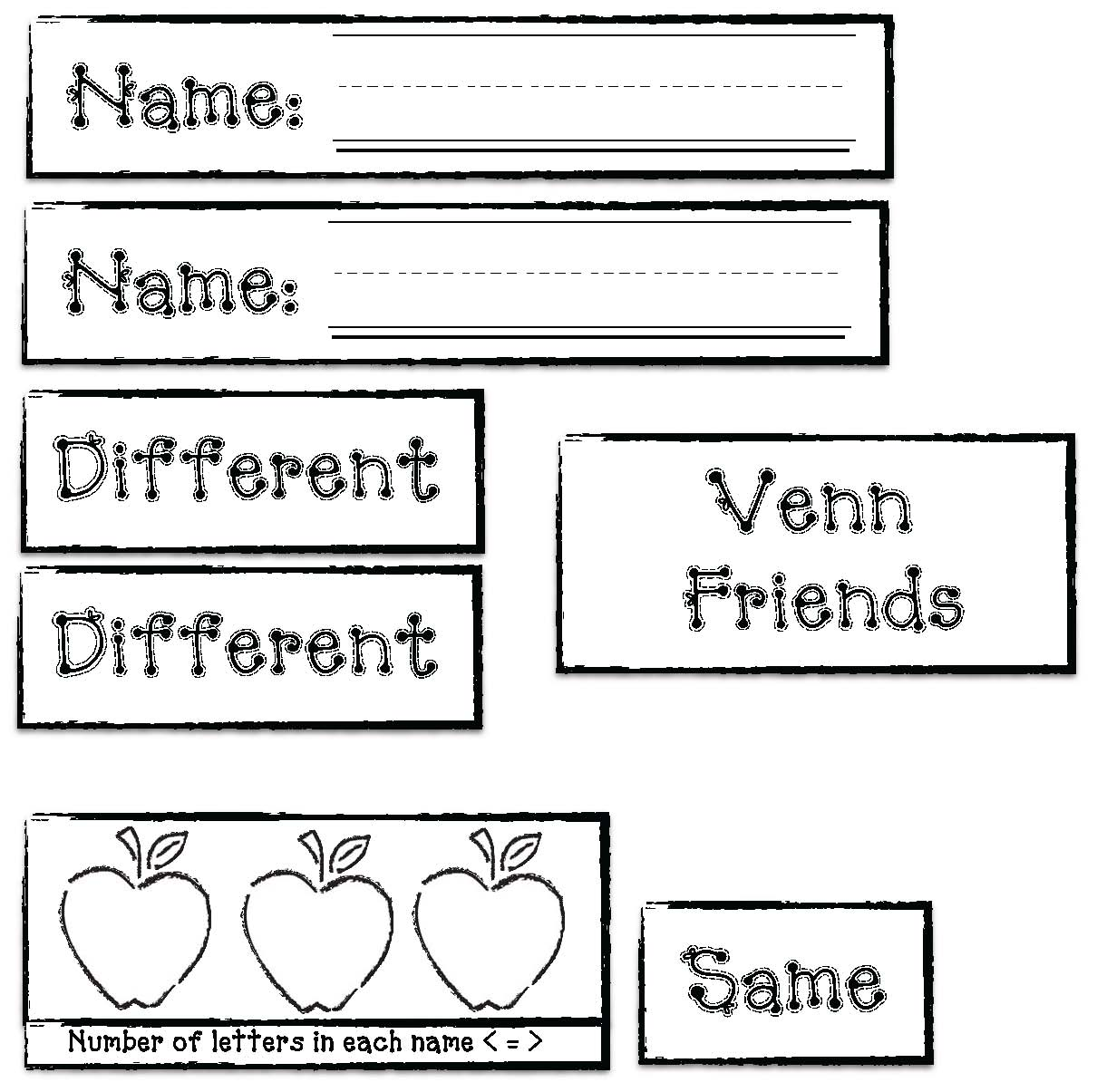 venn diagrams, name activities, back to school activities, icebreakers, fall bulletin boards, apple activities, apple bulletin boards, getting to know your students, venn diagrams, comparison and contrast writing