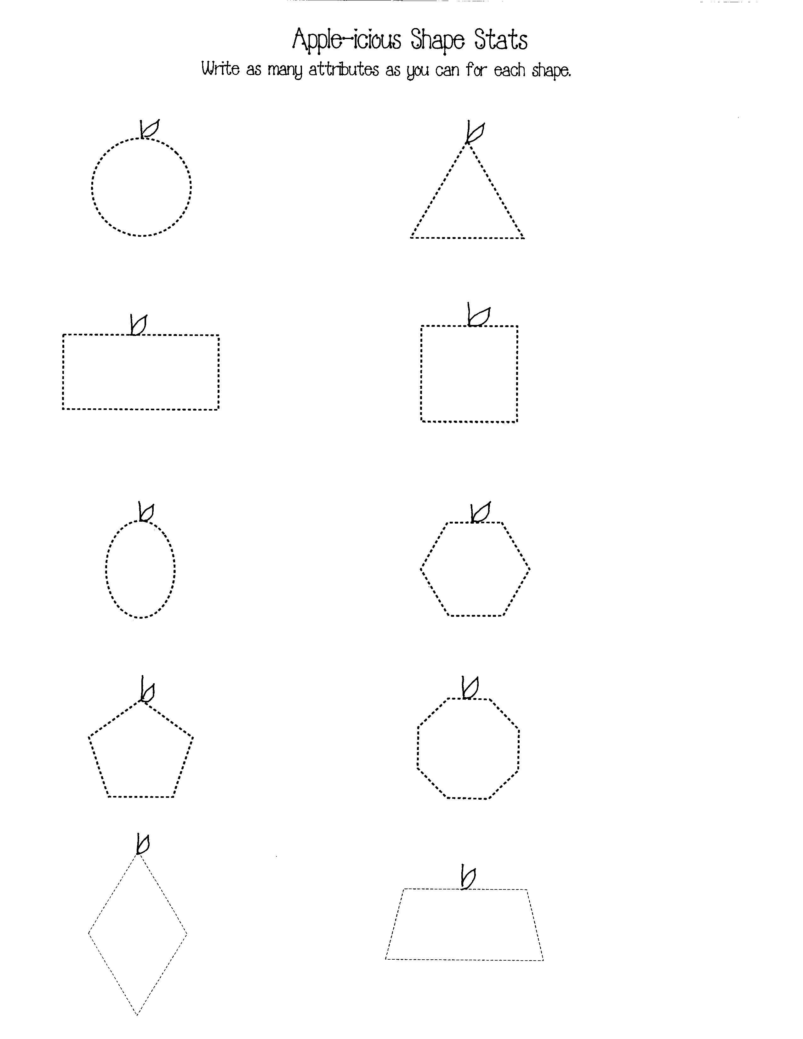 can be used as anchor chart posters, large flashcards, a bulletin board, and assessment tools. Make extra sets and use them for independent centers and games.  Children can also choose their favorite shape and make a shapely apple of their own.  A shape attributes worksheet is also included.  1a smile star button
