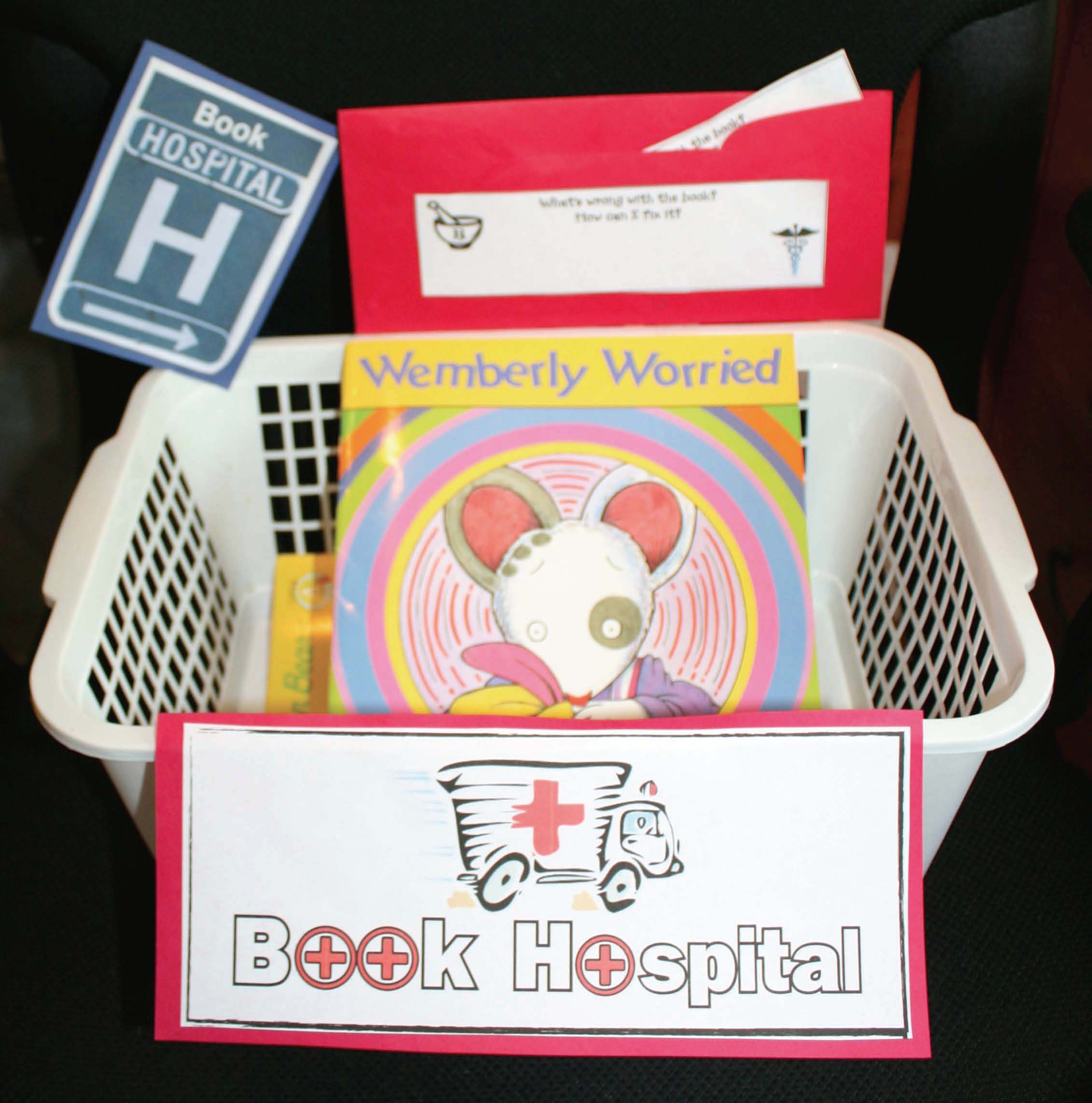 classroom organization, classroom tips, classroom management ideas, classroom decorating ideas, book baskets, back to school ideas, book hospital basket, book hospital signs