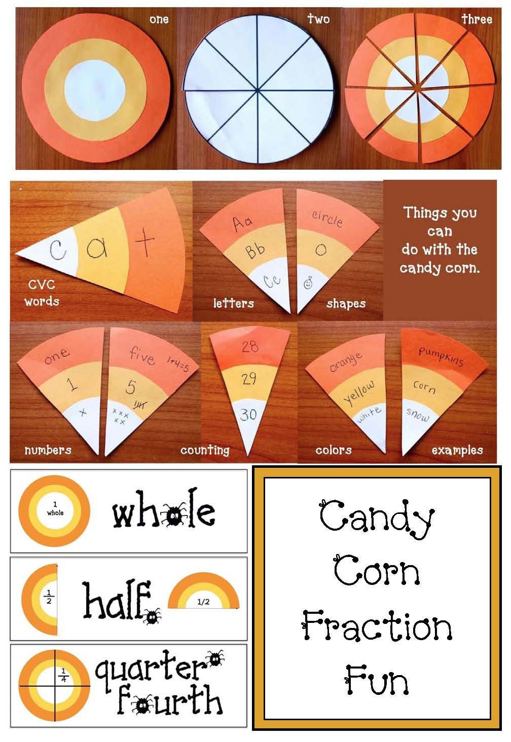 halloween crafts, halloween activities, halloween party day ideas, fraction activities, candy corn math, candy corn fractions, candy corn crafts, small medium large activities, shape activities, circle activities