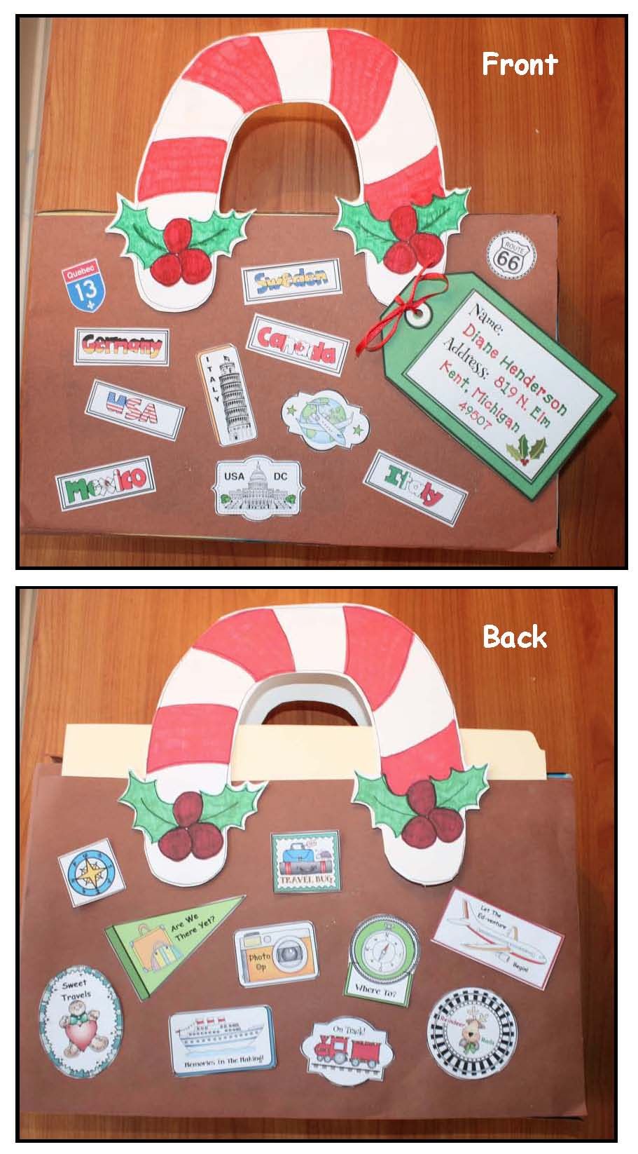 Christmas Around The World activities, Xmas around the world activities, Christmas crafts, geography activities for early elementary, gingerbread activities, passports for school, geography passports, passport craft, passport stamps, suitcaase stamps, suitcase stickers, travel stickers, December writing prompts,