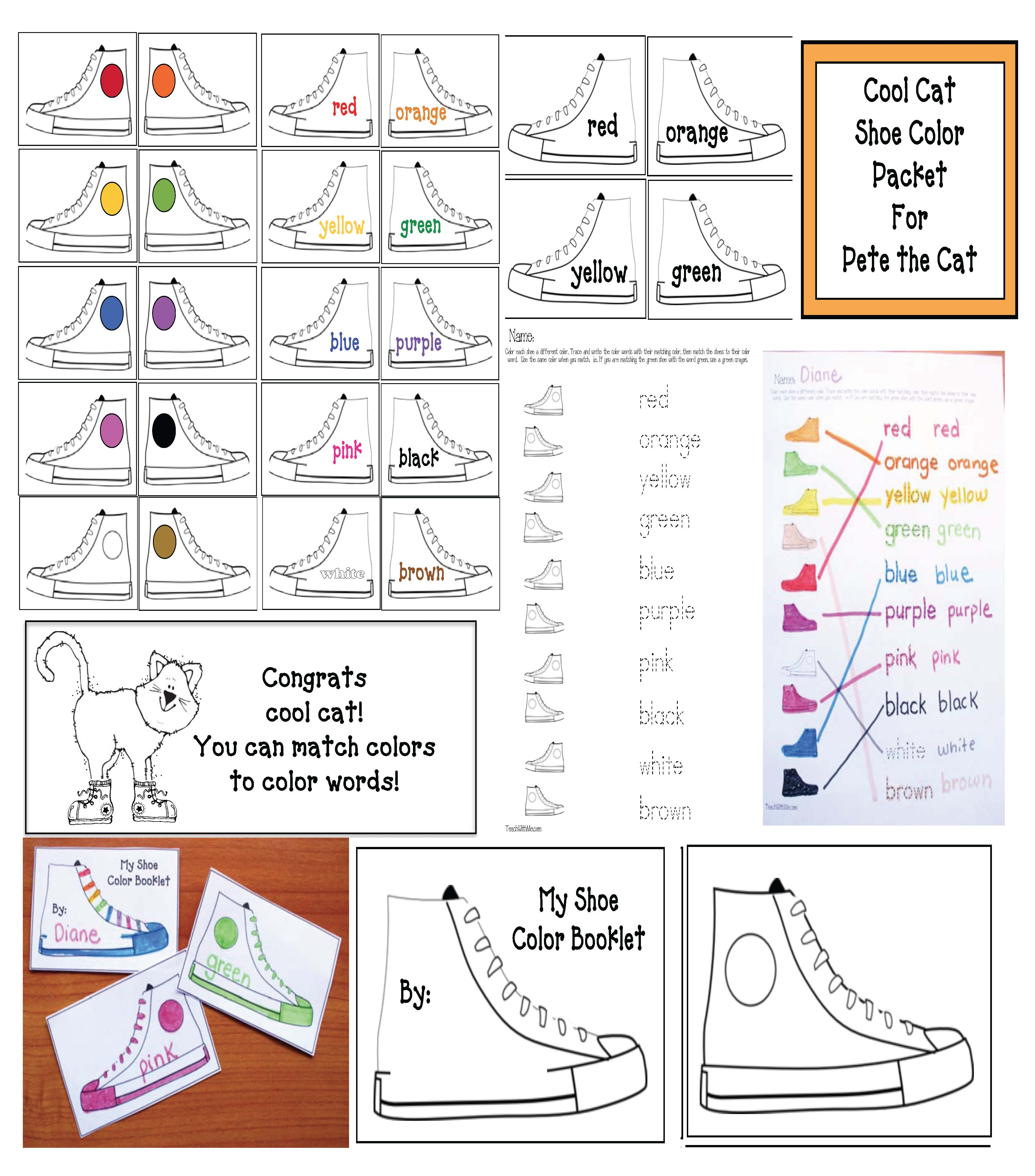 pete the cat, pete the cat activities, color games, color activities, common core state standards for k, CCSS for 1st, end punctuation activities, capitalization activities