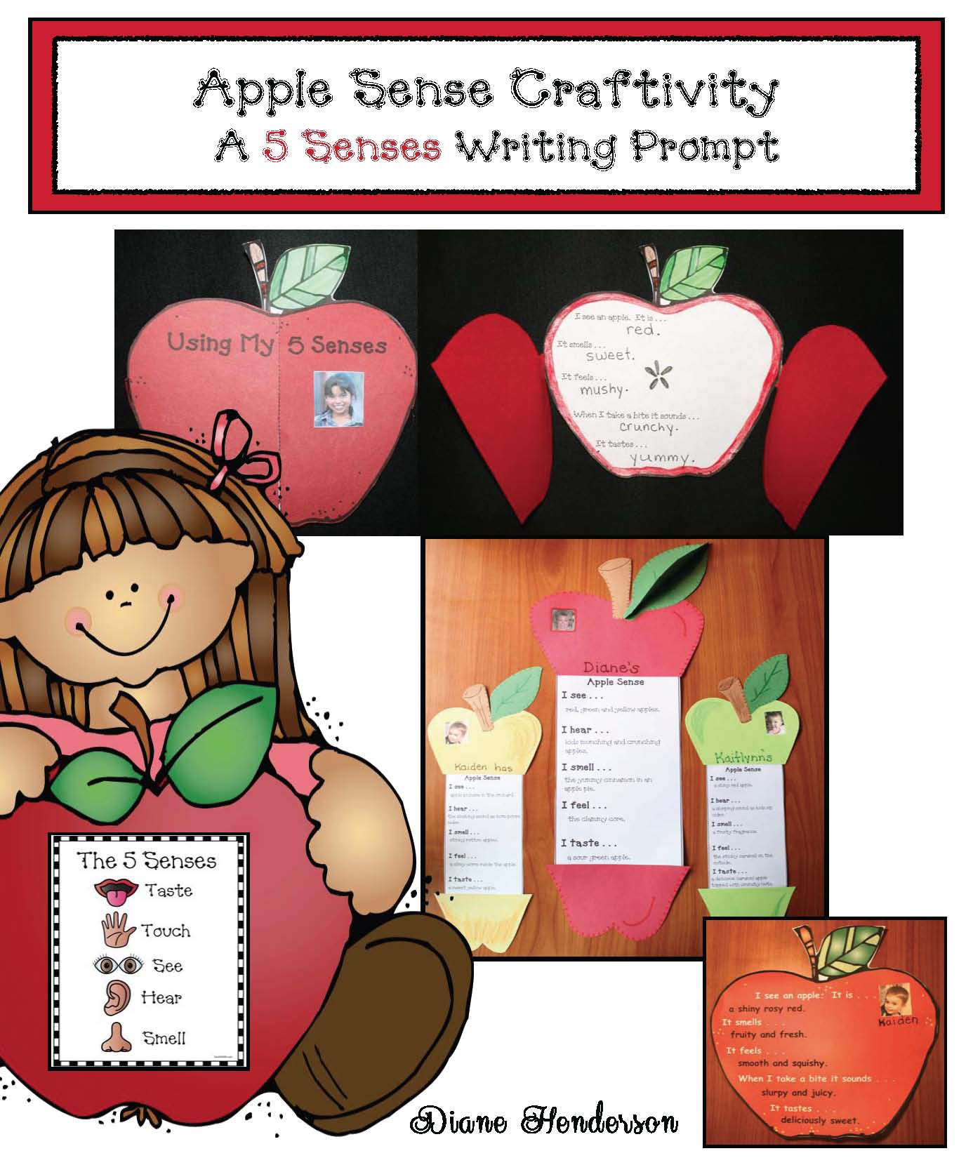 apple activities, apple crafts, apple writing promtps, september writing prompts, fall bulletin boards, apple bulletin boards, 5 senses crafts, 5 senses activities, 5 senses writing prompts, 5 senses poster, parts of an apple poster parts of an apple activities
