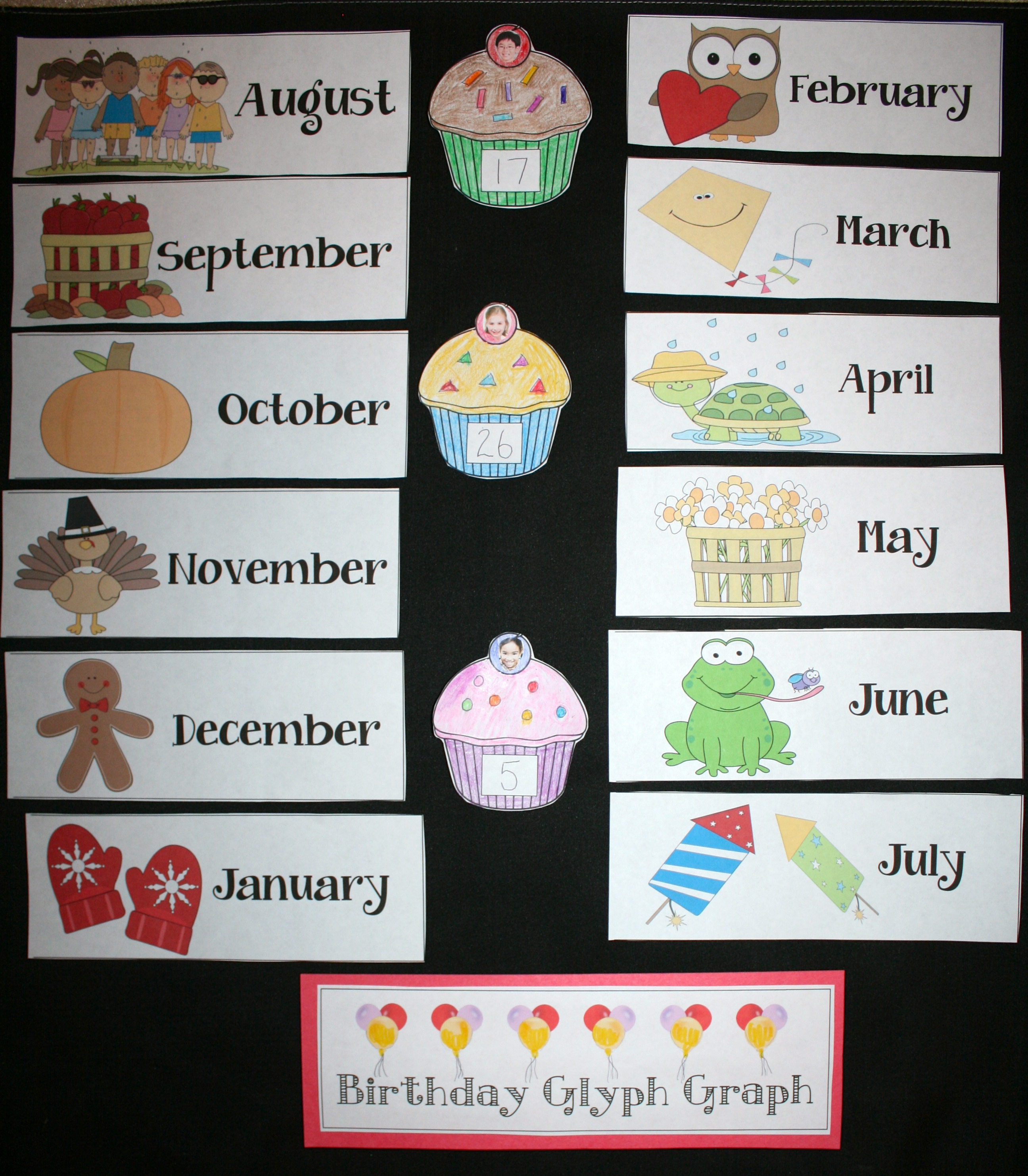 glyphs, graphs, 1st day of school ideas, back to school bulletin boards, september bulletin boards, birthday bulletin boards, birthday activities, student birthday ideas, 1st day of school activity, student made bulletin boards, icebreakers for the 1st week of school,