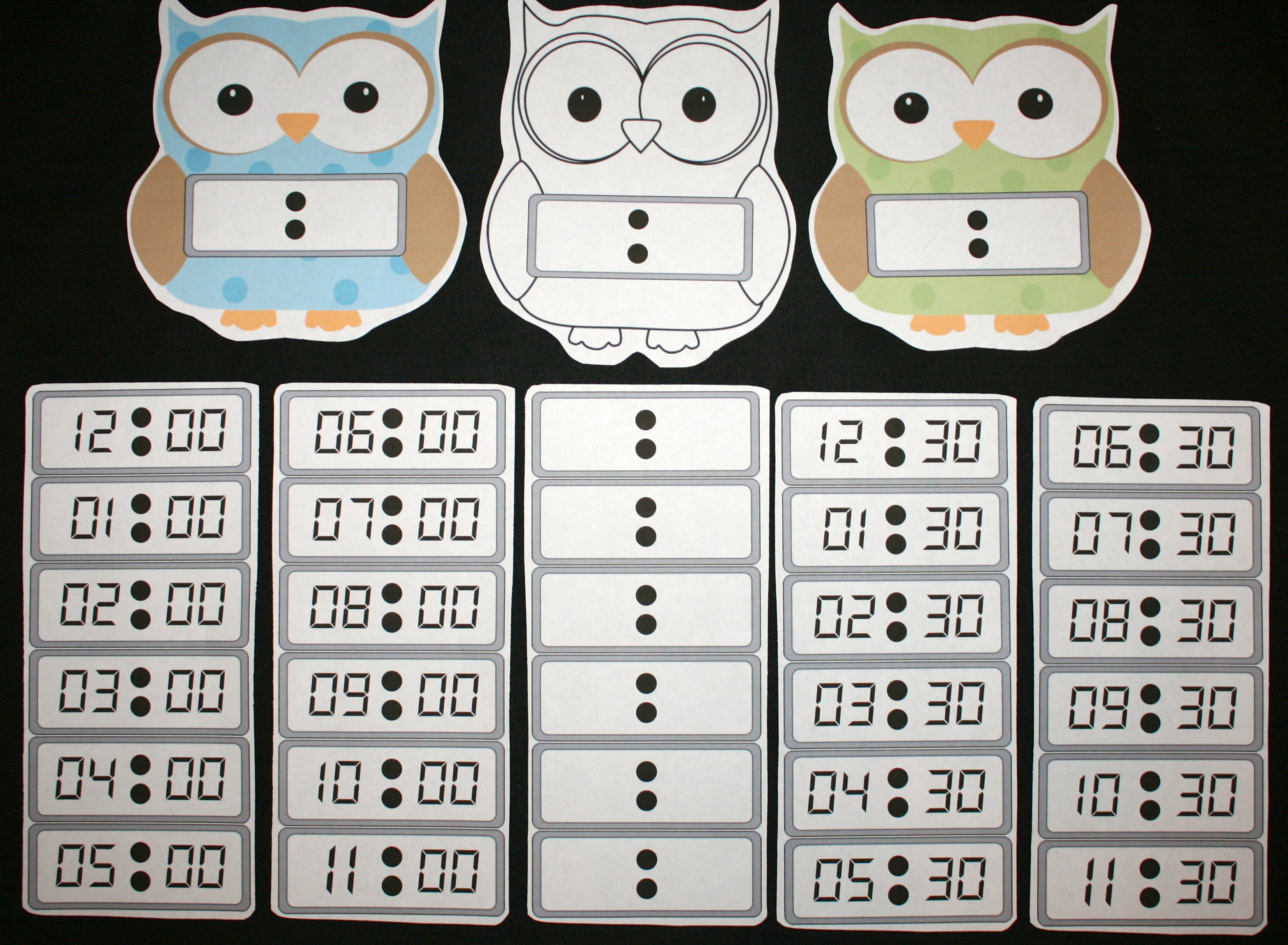 owl activities, owl clock template, owl lessons, telling time activities, telling time lessons, owl clock, owl crafts, digital time activities, clock paddles, free common core time, free common core for kindergarten, assessing time, time games, free common core for 1st,