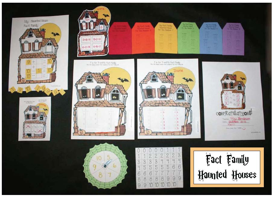 haunted house activities, halloween activities, halloween games, halloween crafts, fact family activities, common core halloween, ick word family activities, eat word family activities, halloween language arts