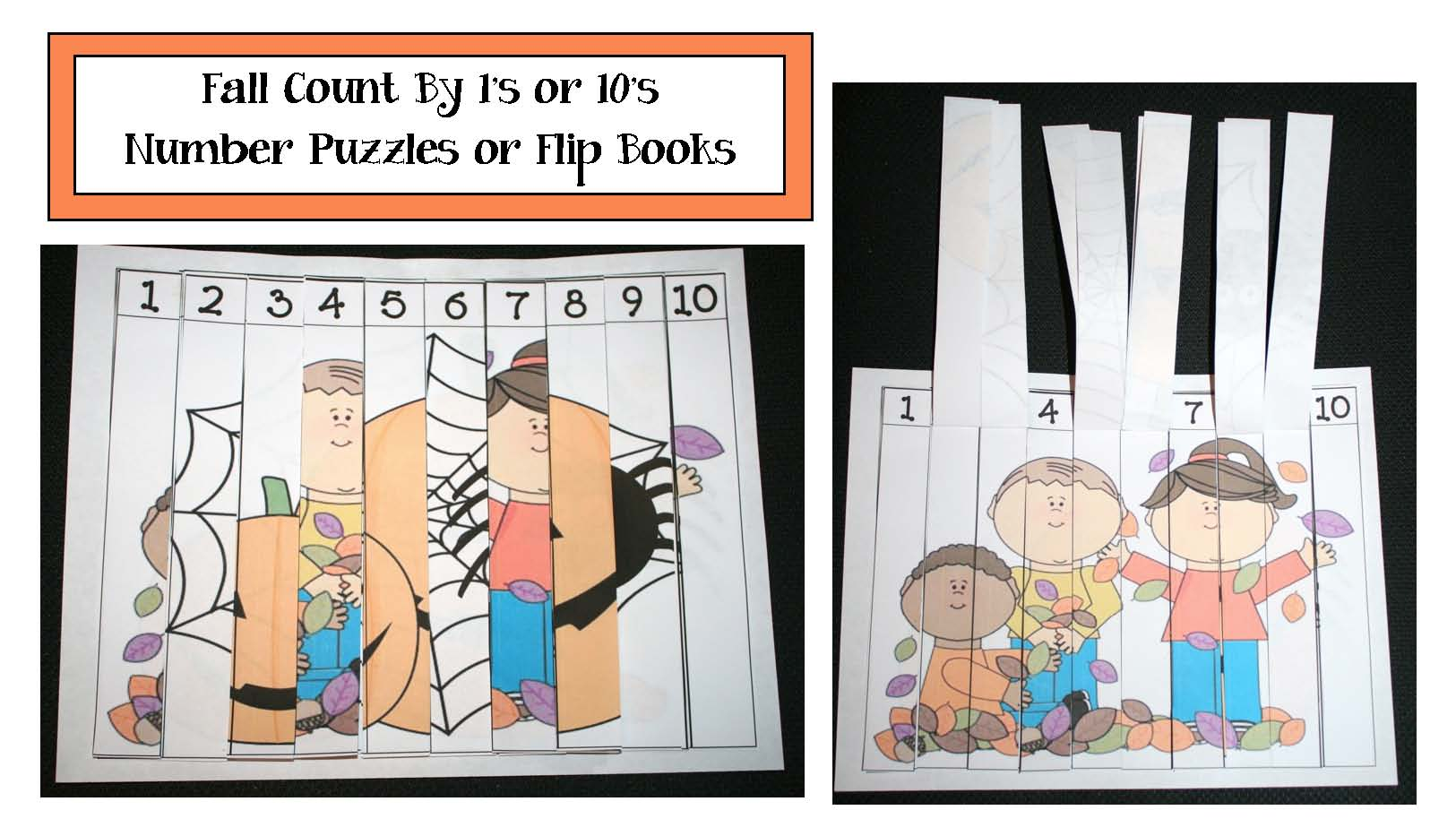 number puzzles, math centers, sequencing numbers, counting activities, skip counting by 10's, activities for skip counting by 10's, pumpkin activities, bat activities, Halloween activities, scarecrow activities, fall puzzles, Halloween games, Halloween puzzles, puzzle pictures, number strip puzzles, leaf puzzles, flip booklet templates, flip booklet patterns, number flip booklet pattern, pumpkin puzzles, leaf activities