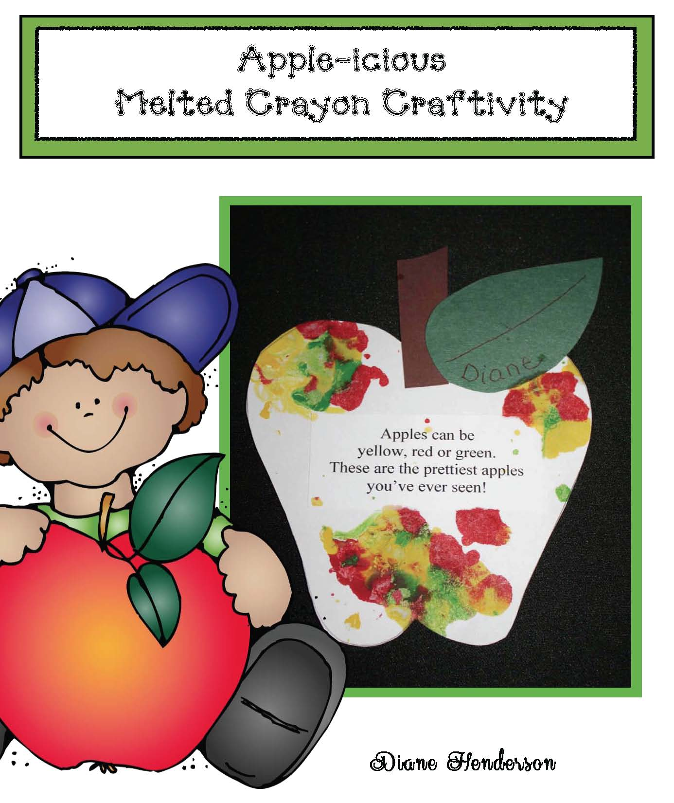 melted crayon fall apple craft