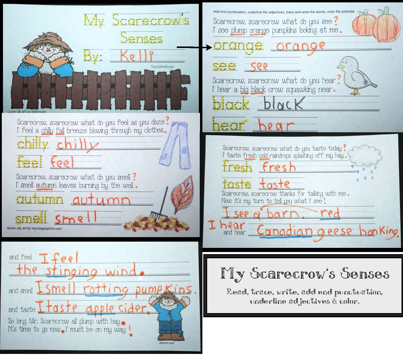 scarecrow alphabet cards, 5 senses activities, end punctuation activities, adjective activities, alphabet activities, alphabet games, alphabet centers, free alphabet cards for fall, free alphabet cards, scarecrow centers, scarecrow lessons, common core scarecrows, alphabet activities, shape activities, scarecrow crafts, scarecrow writing,