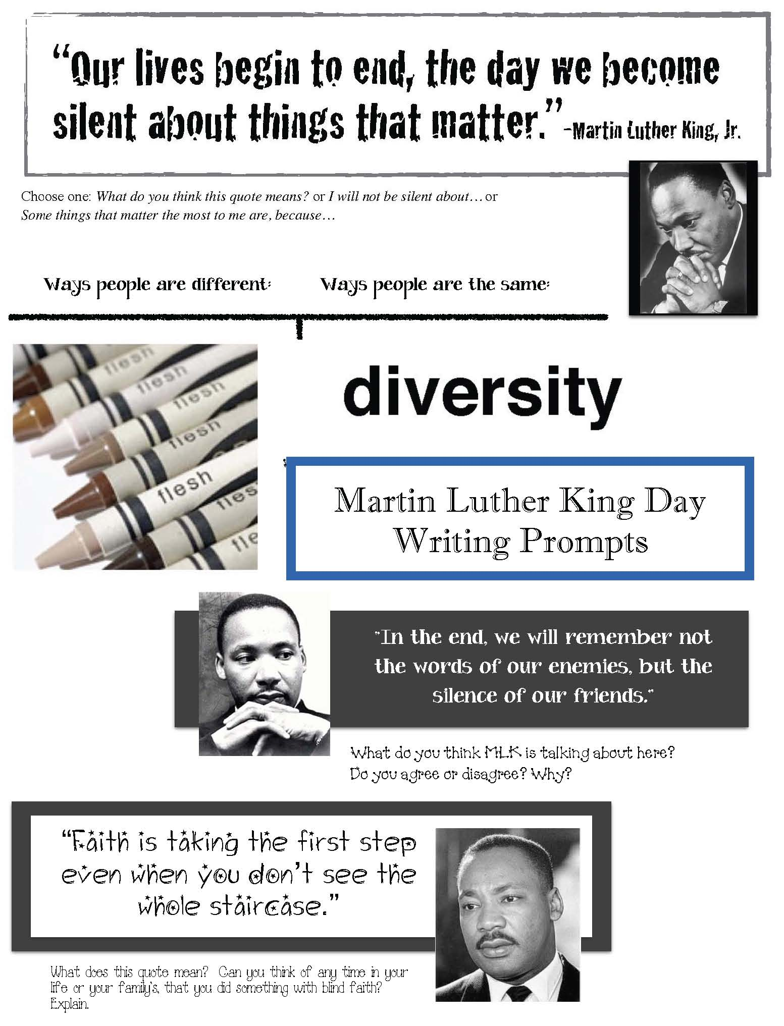 writing prompts for MLK day, writing prompts for martin luther king day, writing activities for martin luther king day, MLK day activities for kids, MLK alphabet cards, martin luther king alphabet cards, MLK games, games to play on MLK day, martin luther king quotations