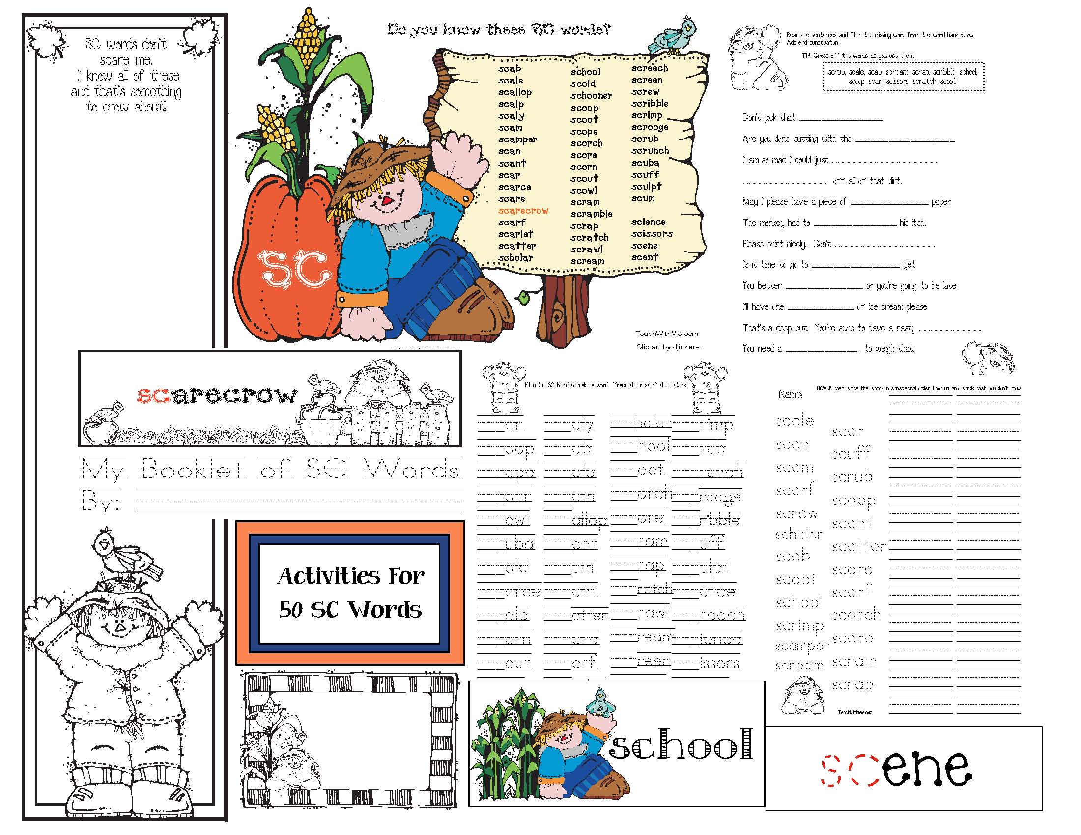 SC blend activities, scarecrow activities, common core scarecrows, sc blend word list, sc words, words that begin with sc, 50 words that begin with the sc blend, sc blend games, sc blend worksheets, sc blend dictionaries,