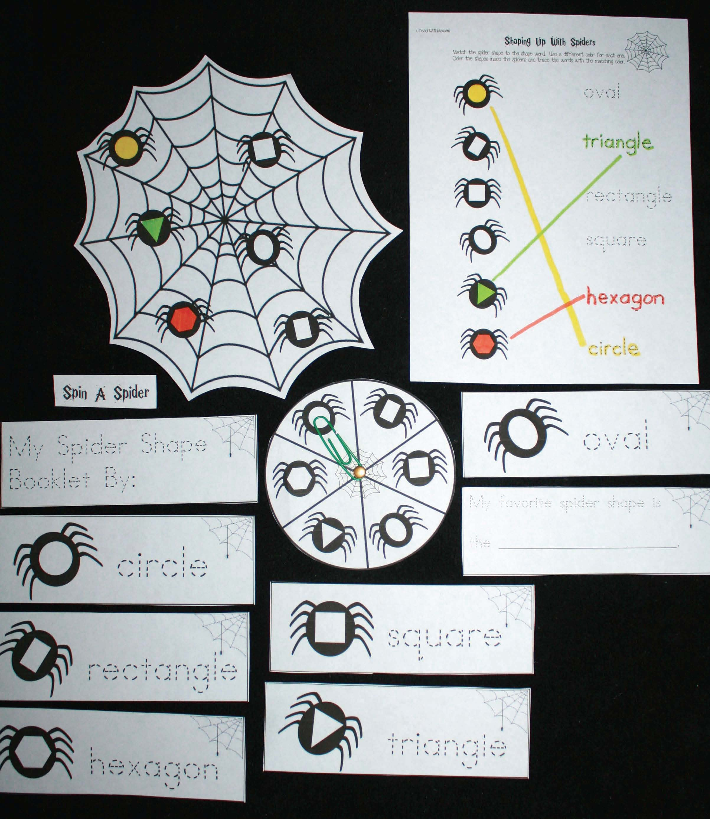 spider activities, spider lessons, common core spiders, shape activities, shape lessons, shape centers, spider centers, spider games, Daily 5 for October, Daily 5 activities for fall, spider crafts, spider arts and crafts, spider games, spider centers, math games, common core spiders, math centers,