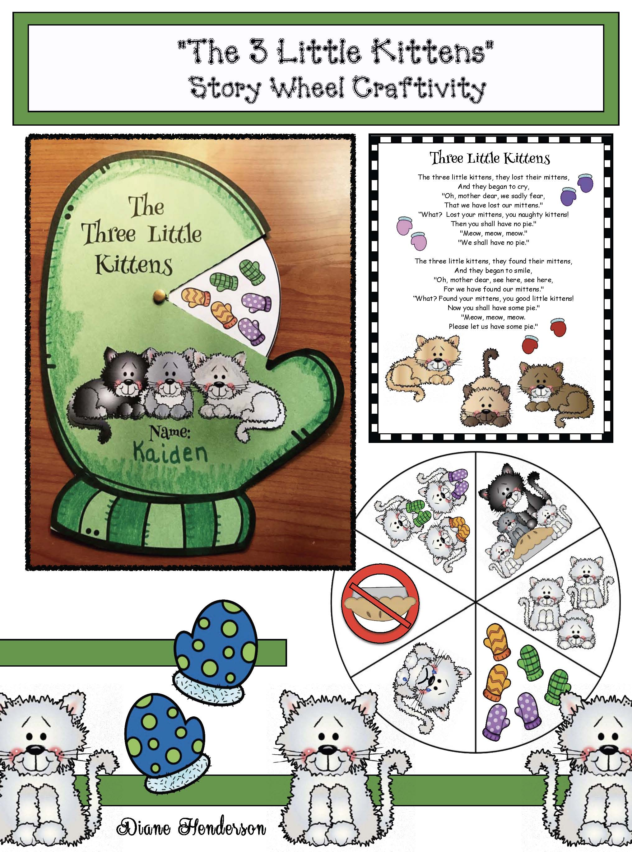 story telling wheels, nursery rhyme activities, nursery rhyme crafts, 3 little kittens, nursery rhyme centers, activities for the 3 little kittens nursery rhyme