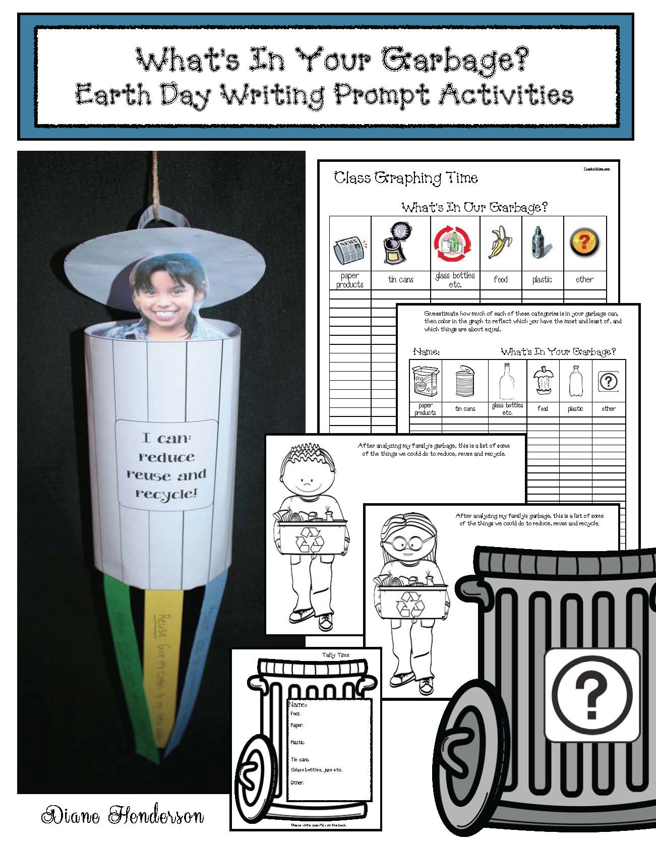 earth day crafts, earth day activities, earth day writing prompts, earth day bulletin board ideas, earth day bookmarks, cylinder shape crafts, cylinder shape activities, free earth day, environmental footprint activities