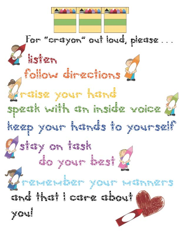 for crayon out loud poster, for crayon out loud saying, color games, color word cards, crayon name tags, crayon posters, crayon bookmarks, classroom management tips, behavior modification ideas