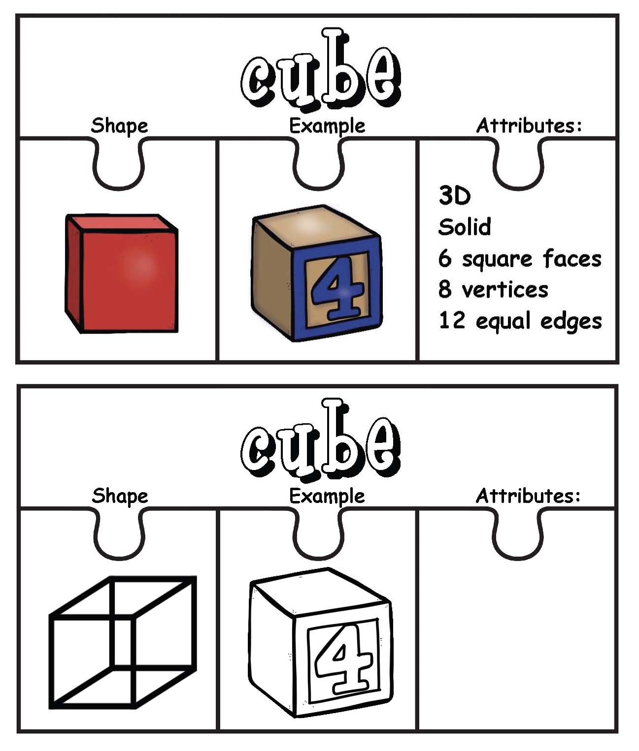I've also included black and white templates so that students can make their own puzzles.