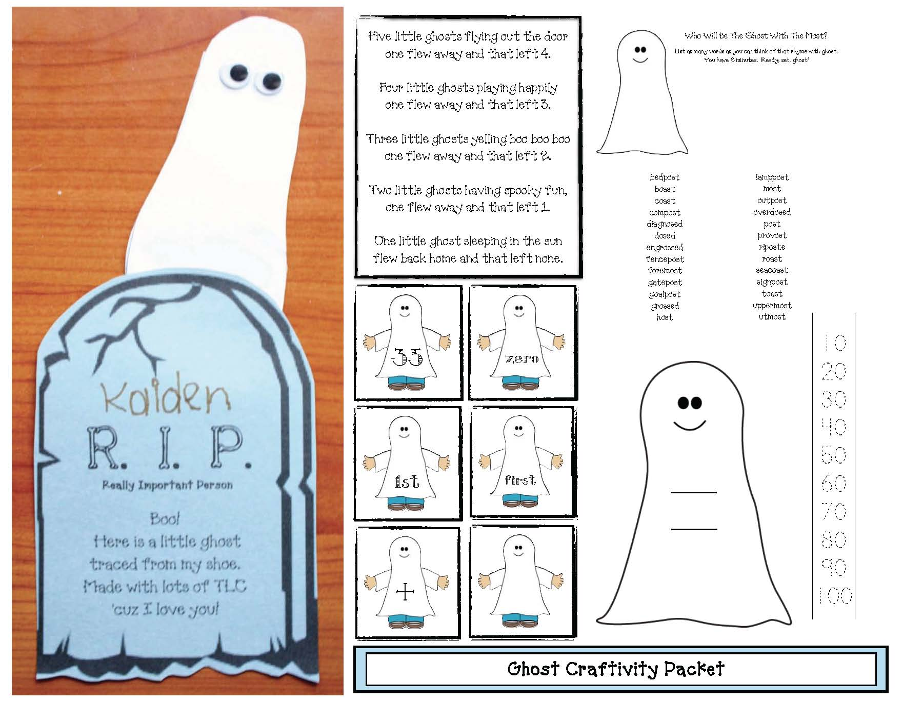 halloween activities, ghost crafts, ghost activities, words that rhyme with ghost, halloween crafts, halloween math activities, math games, ghost games, halloween games, number word activities, numbskull activities, candy bones math, candy bones graph, candy bones activities, free number cards