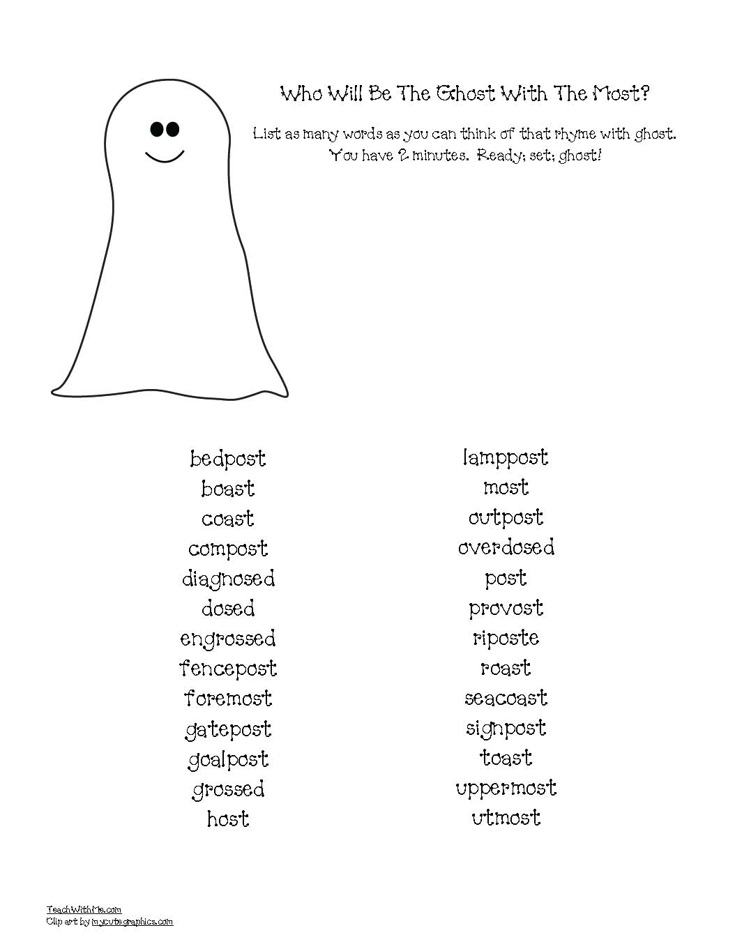 ghost with the most rhyme worksheet, halloween activities, ghost crafts, ghost activities, words that rhyme with ghost, halloween crafts, halloween math activities, math games, ghost games, halloween games, number word activities, numbskull activities, candy bones math, candy bones graph, 5 little ghosts poem, candy bones activities, free number cards