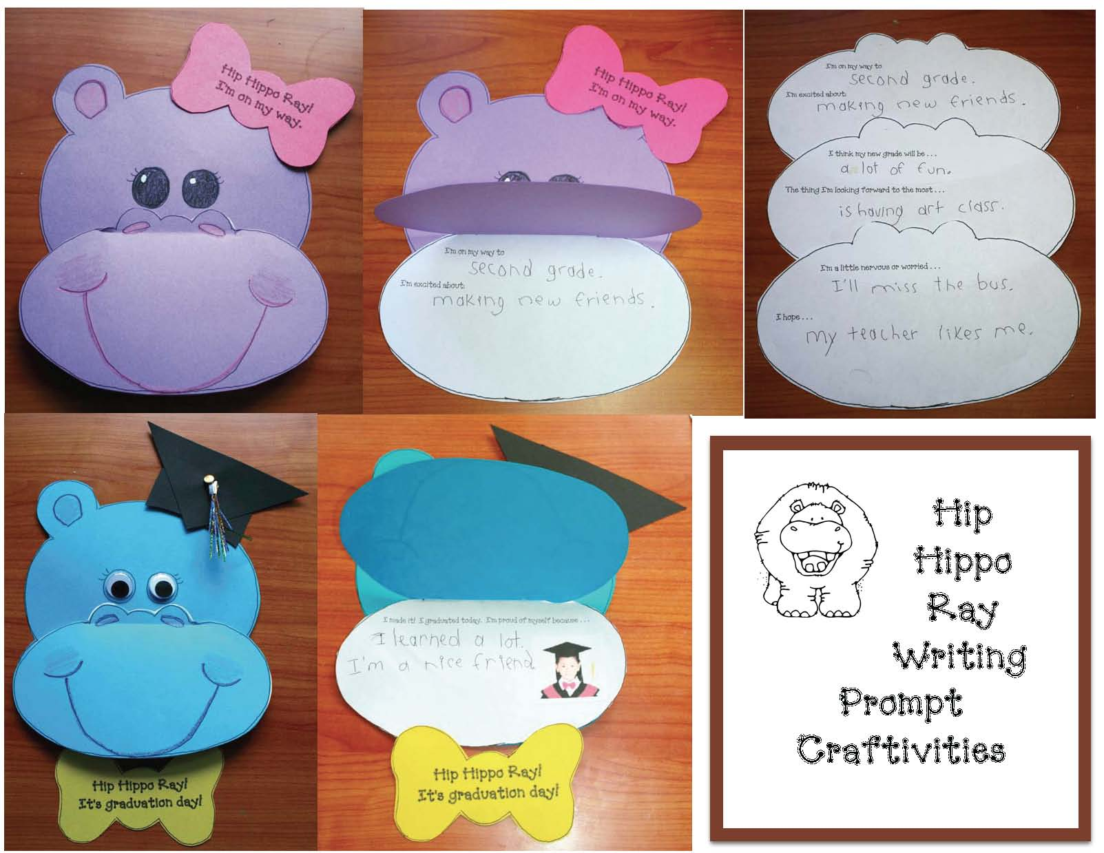 hippo crafts, hippo activities, end of the year activities, end of the year crafts, ideas for the end of the year, ideas for the last week of school, writing prompts for the end of the year, summer writing prompts, end of the year writing prompts, june writing prompts, daily 5 for the end of they year, graduation activities, graduation writing prompts, graduation crafts, kindergarten graduation ideas, preschool graduation ideas, graduation bookmarks. end of the year bulletin boards, alphabet scavenger hunt