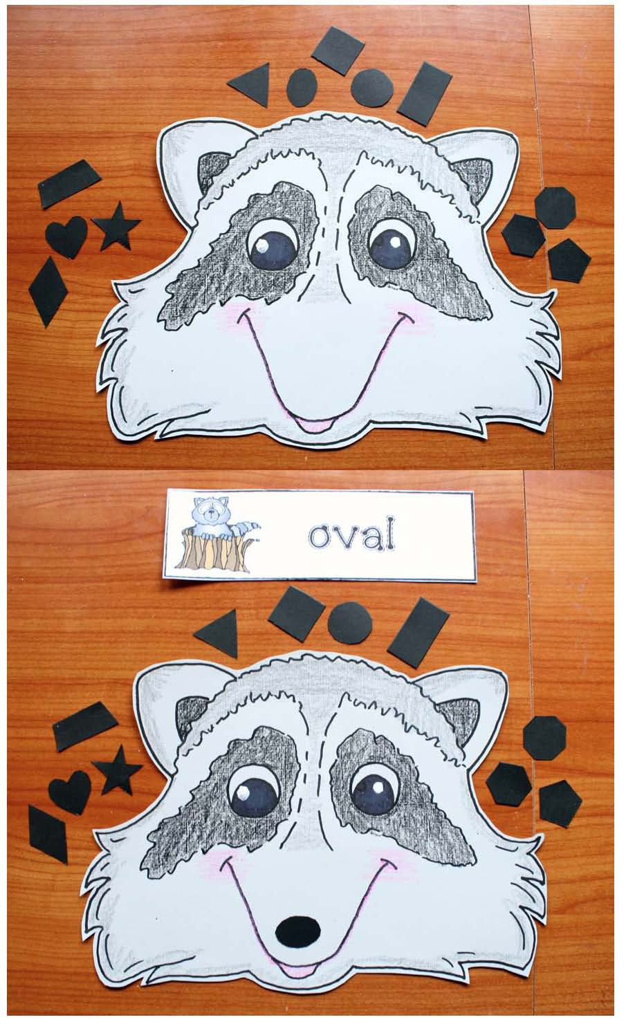 kissing hand activities, shape activities, shape crafts, raccoon activities, raccoon crafts, vertex activities, shape attribute activities,
