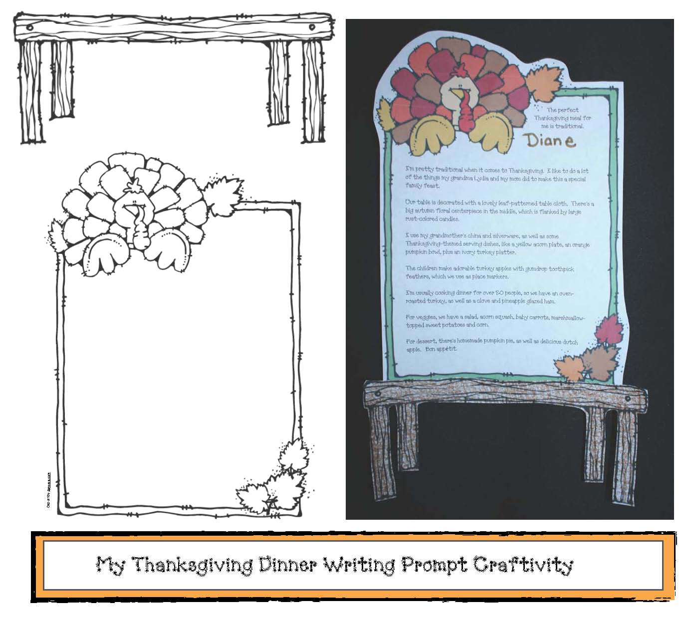 Thanksgiving writing prompts, thanksgiving activities, november writing prompts, november bulletin board ideas, how to make a pumpkin pie writing prompt craft, adjective activities, list of transitions, venn diagram activities, venn friends,